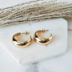 5 for $25 Gold Color Wide Hoop Earrings 0.75'